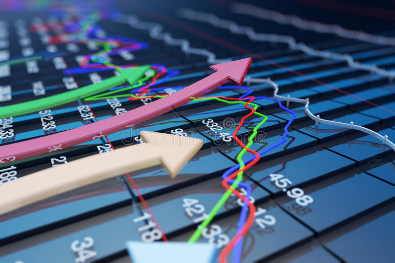 Os indicadores econômicos e movem-se para a frente com a seta ilustração stock
