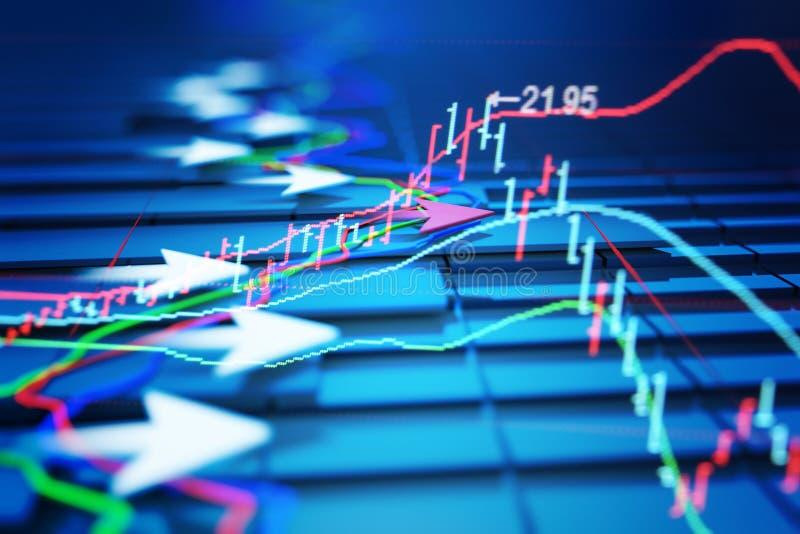 Os indicadores econômicos e movem-se para a frente com a seta ilustração royalty free