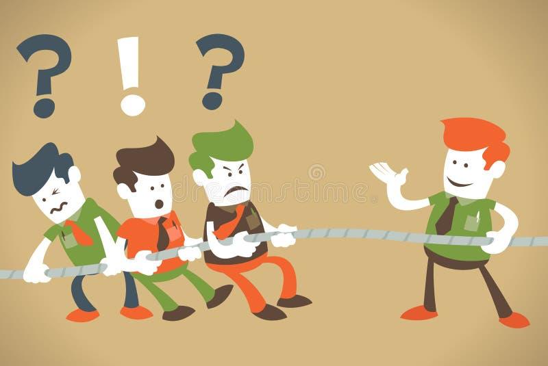 Os indivíduos corporativos retros têm um conflito. ilustração royalty free