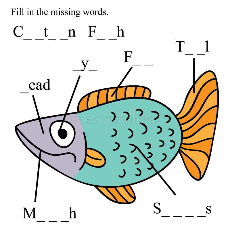 Os ingleses dos peixes enchem palavras faltantes ilustração royalty free