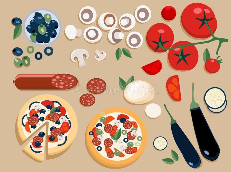 Os ingredientes lisos da pizza ajustaram-se inteiro e corte em partes: azeitonas, cogumelos, tomate, salame, mussarela, beringela ilustração stock