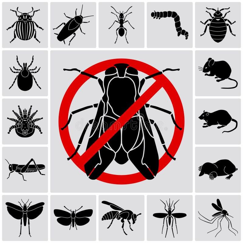 Os insetos e as pragas detalharam os ícones ajustados ilustração stock