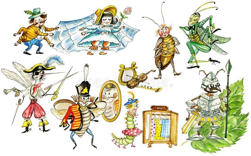Os insetos engraçados ajustaram-se ilustração do vetor