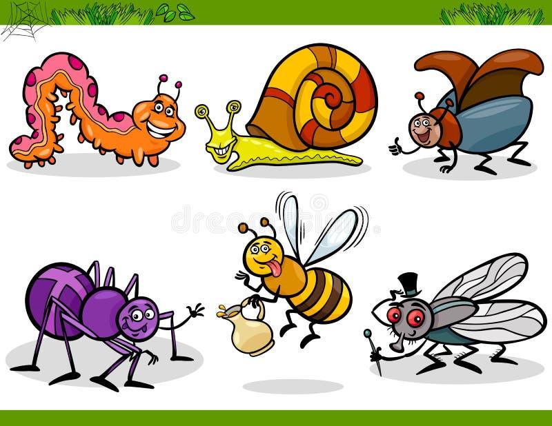 Os insetos felizes ajustaram a ilustração dos desenhos animados ilustração stock