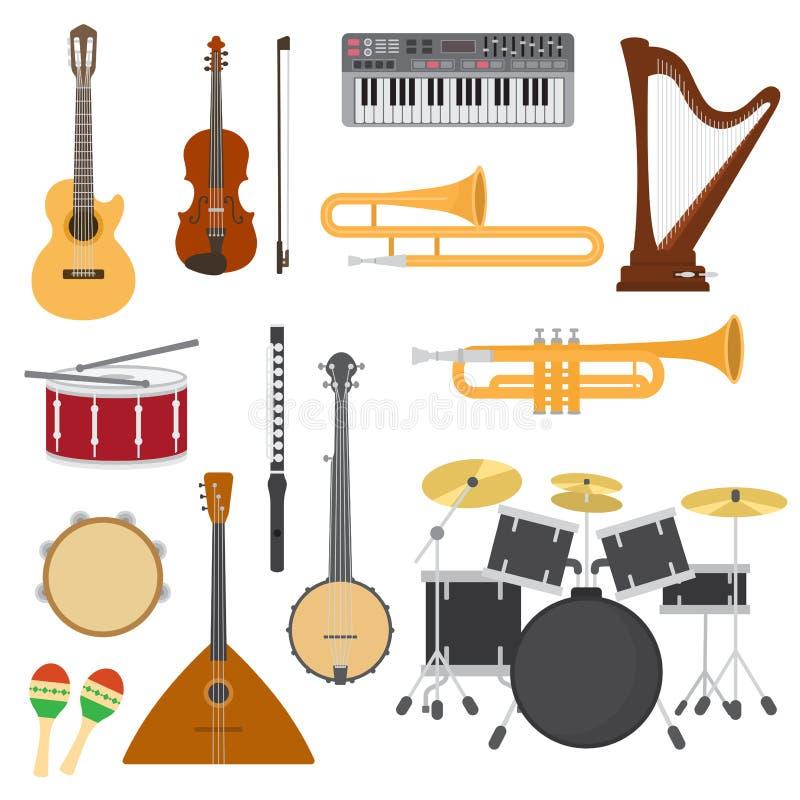 Os instrumentos musicais vector o concerto da música com guitarra acústica ou balalaica e músicos violino ou grupo da ilustração  ilustração do vetor
