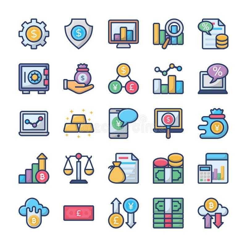Os investimentos e os ícones da finança empacotam ilustração royalty free