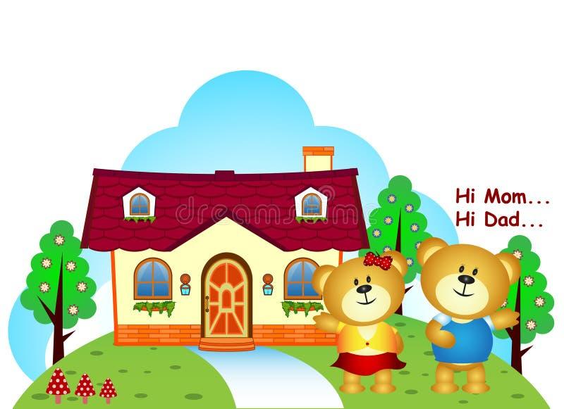 Os irmãos dos ursos eram na frente de sua casa ilustração royalty free