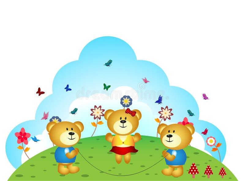 Os irmãos dos ursos estão jogando a corda de salto no jardim ilustração do vetor