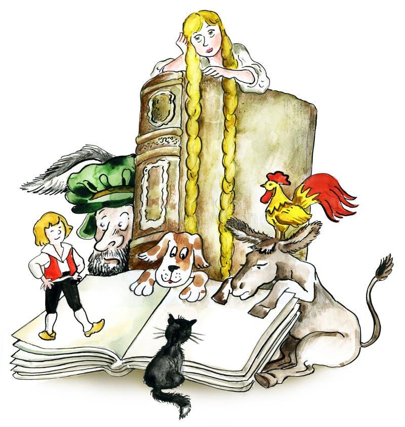 Os irmãos Grimm registram caráteres ilustração royalty free