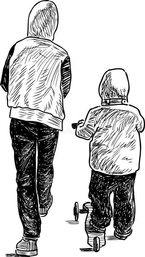 Os irmãos vão em uma caminhada ilustração stock