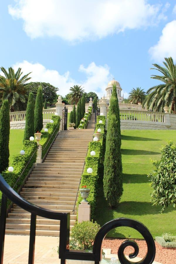 Os jardins de Bahai imagens de stock