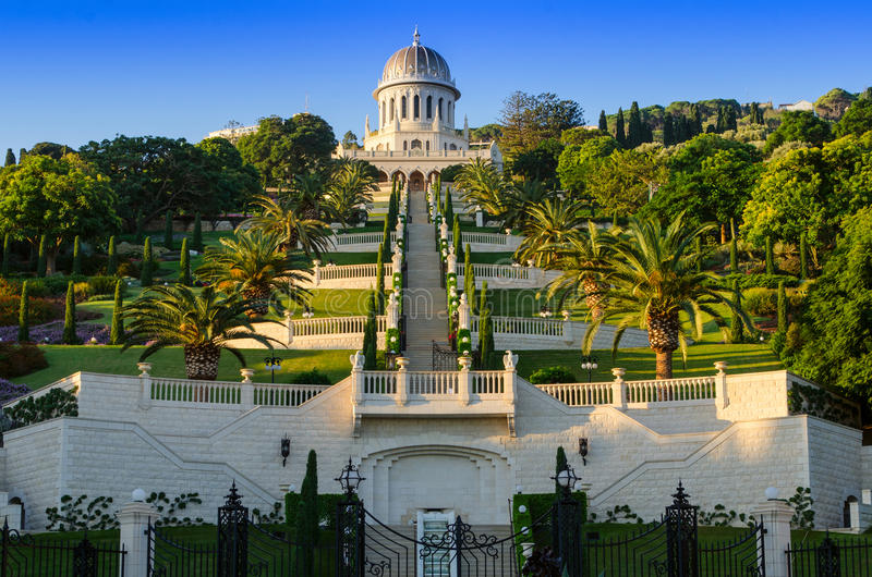 Os jardins de Bahai fotos de stock