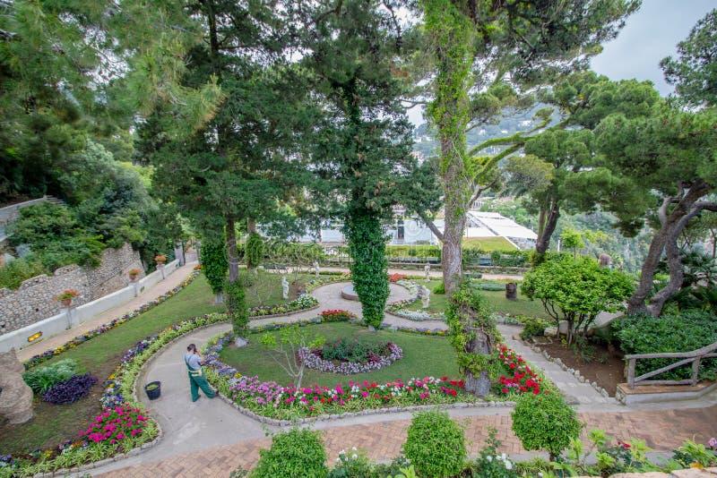 Os jardins pitorescos em Capri, It?lia de Augustus imagem de stock