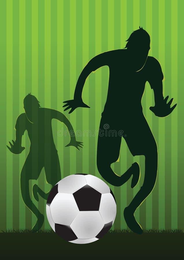 Os jogadores de futebol tentam à bola de controle no projeto da silhueta foto de stock royalty free