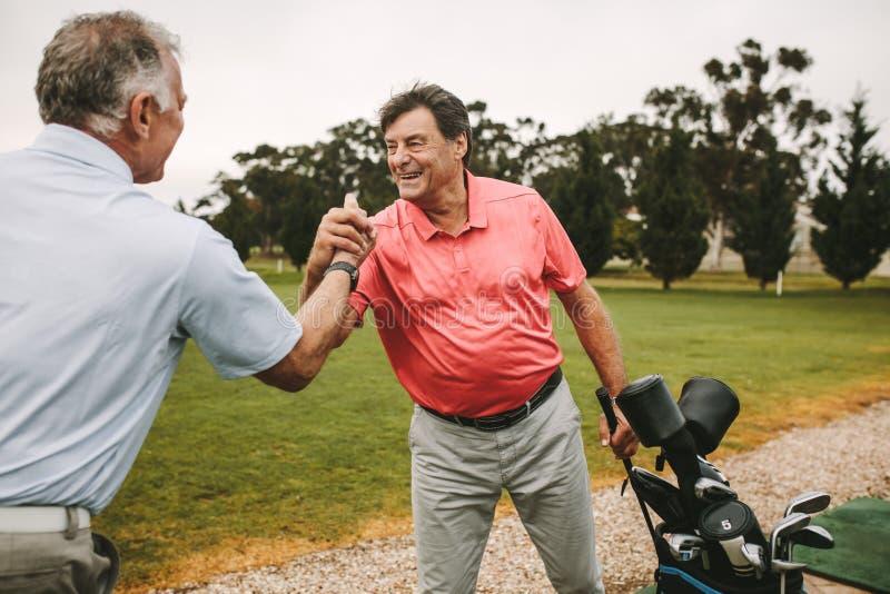 Os jogadores de golfe que agitam as mãos após um bem sucedido praticam a sessão imagem de stock royalty free
