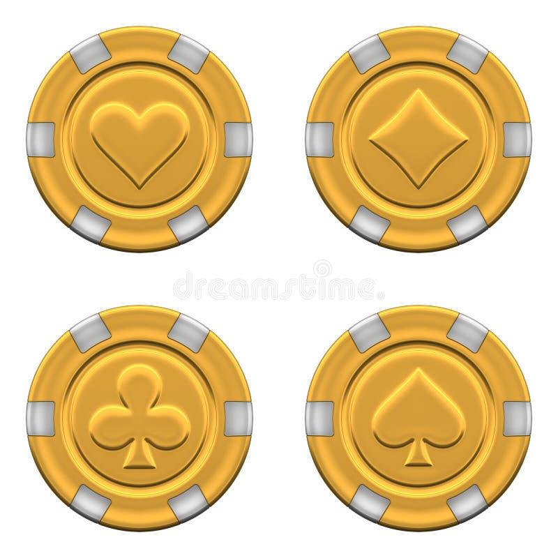 Os jogos de 3d renderam microplaquetas do casino do ouro ilustração do vetor