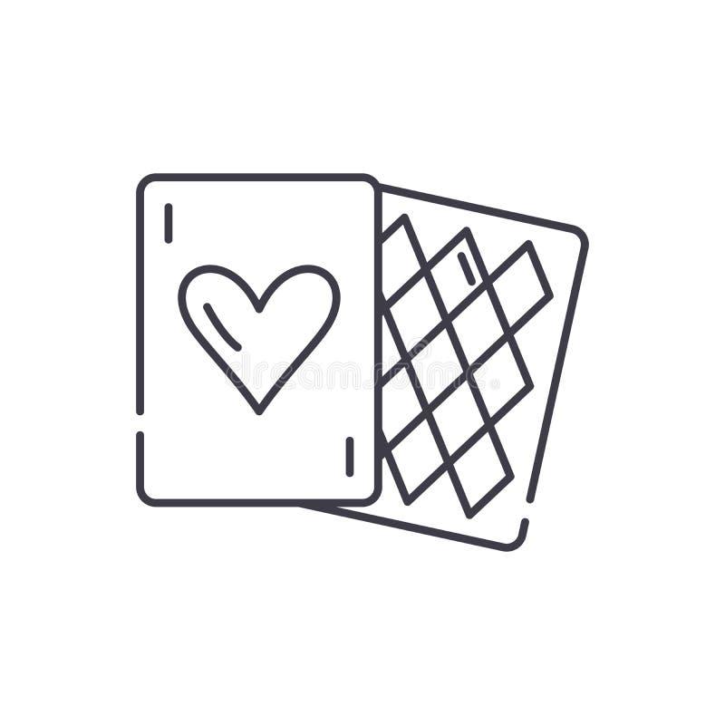 Os jogos de cartas alinham o conceito do ícone Ilustração linear do vetor dos jogos de cartas, símbolo, sinal ilustração stock