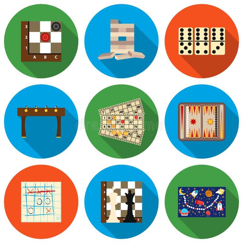 Os jogos de mesa ajustaram ícones no estilo liso Ilustração grande do estoque do símbolo do vetor dos jogos de mesa da coleção ilustração stock