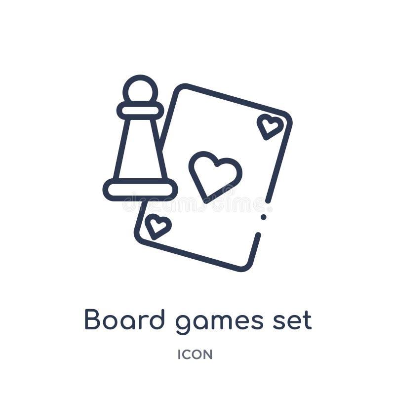 Os jogos de mesa lineares ajustaram o ícone da coleção do esboço do entretenimento Linha fina ícone do grupo dos jogos de mesa is ilustração royalty free