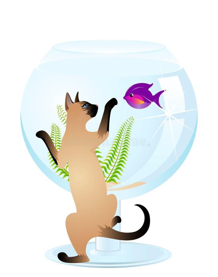 Os jogos do gato com um peixe ilustração royalty free