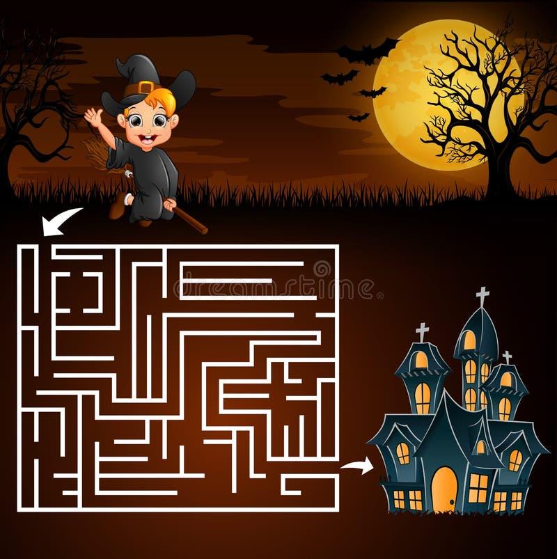 Os jogos do labirinto de Dia das Bruxas encontram a bruxa do menino à casa do fantasma ilustração stock