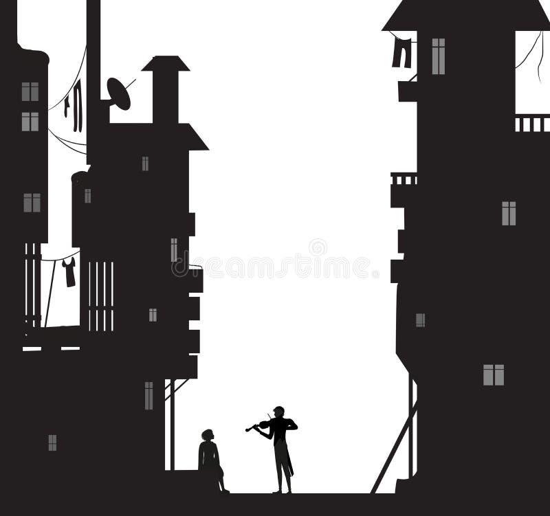 Os jogos do Violist para o sonhador da noite da menina de s, menino sentam-se perto das casas da cidade e olham-se pombos de voo, ilustração do vetor