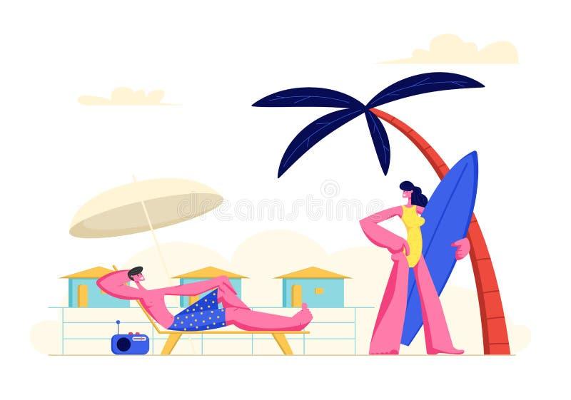 Os jovens acoplam férias da despesa na praia Mulher que vai ao beira-mar com placa de ressaca, homem que relaxa em Chaise Lounge ilustração royalty free