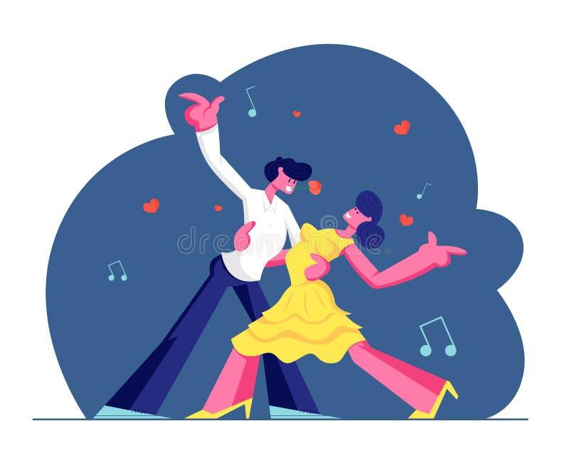 Os jovens acoplam o Sparetime com dança do tango, estilo de vida ativo dos povos, homem e mulher no amor ou em relações amigáveis ilustração do vetor