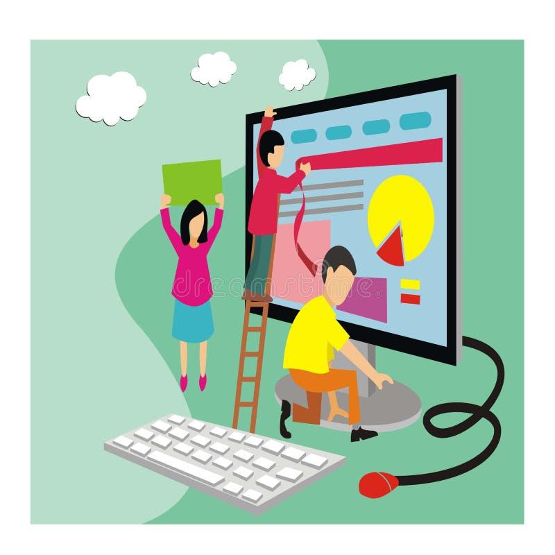 Os jovens constroem o estilo isométrico do conceito dos ícones do Web site ilustração royalty free
