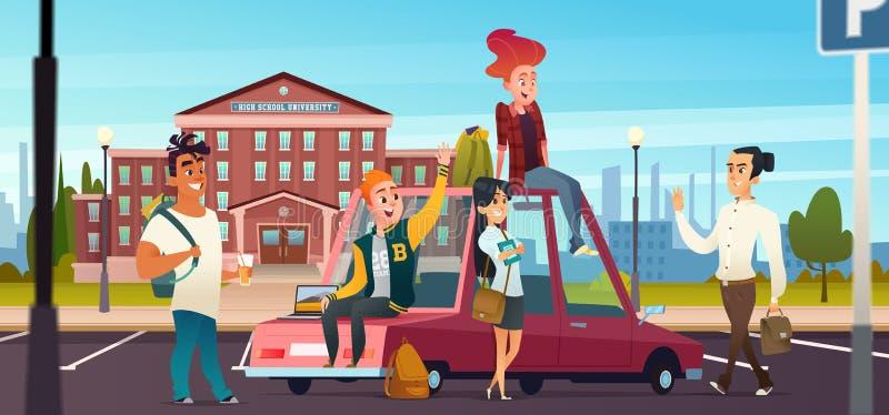 Os jovens encontram-se perto de uma faculdade ou de uma escola Reunião dos estudantes perto da universidade no estacionamento ilustração royalty free
