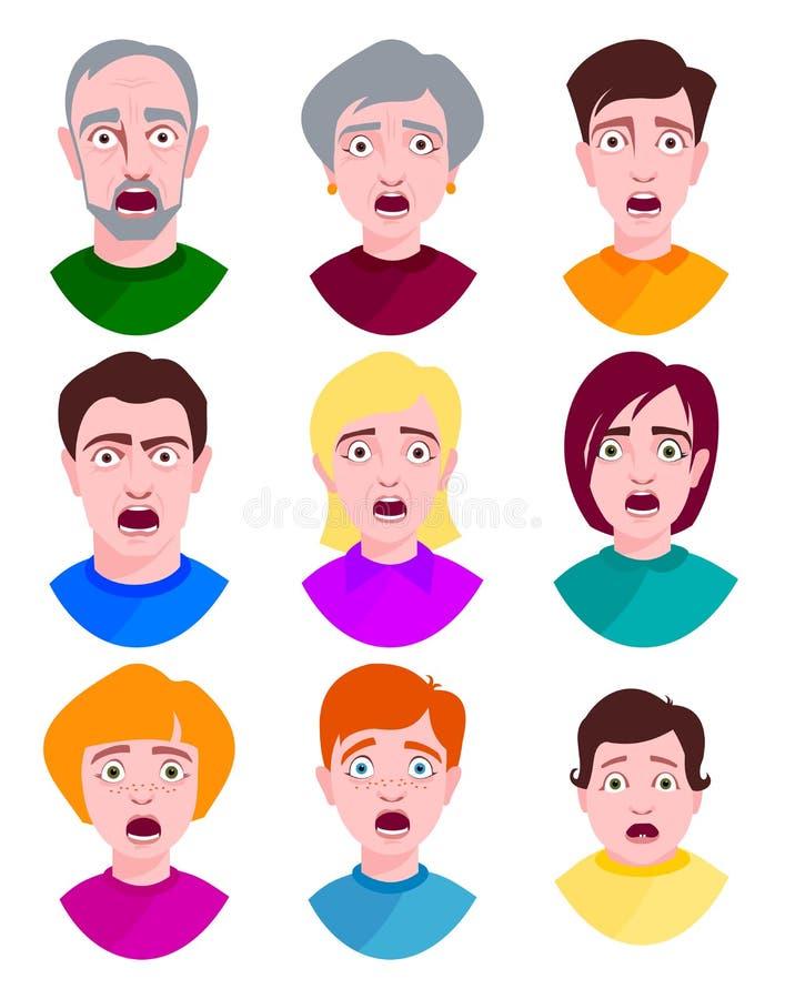 Os jovens extremamente surpreendidos chocam o retrato e a pessoa receosa amedrontada da expressão das emoções da cara com boca ab ilustração stock
