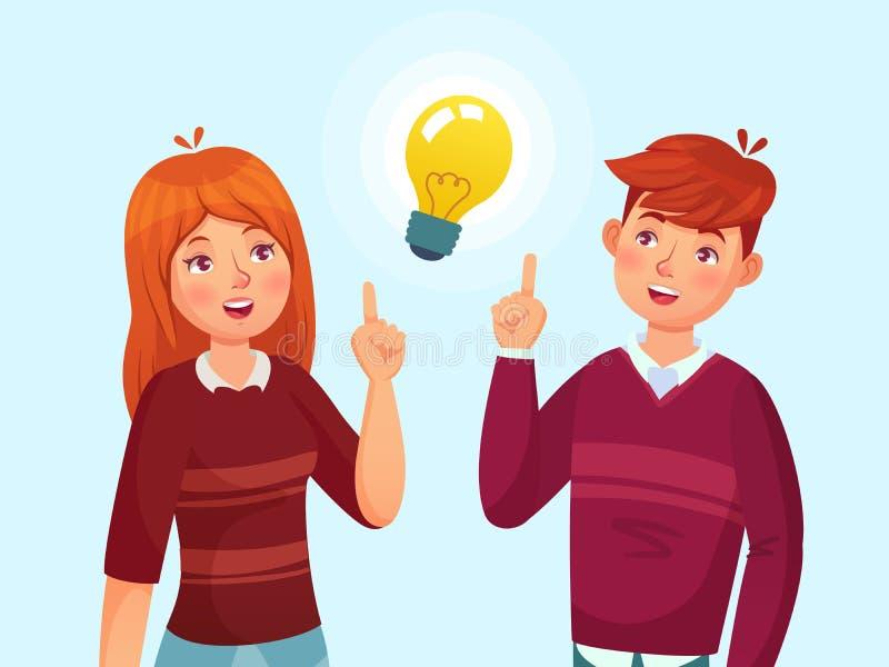 Os jovens têm a ideia Pares dos estudantes que têm a solução, a metáfora do bulbo de lâmpada das ideias dos adolescentes e o veto ilustração stock