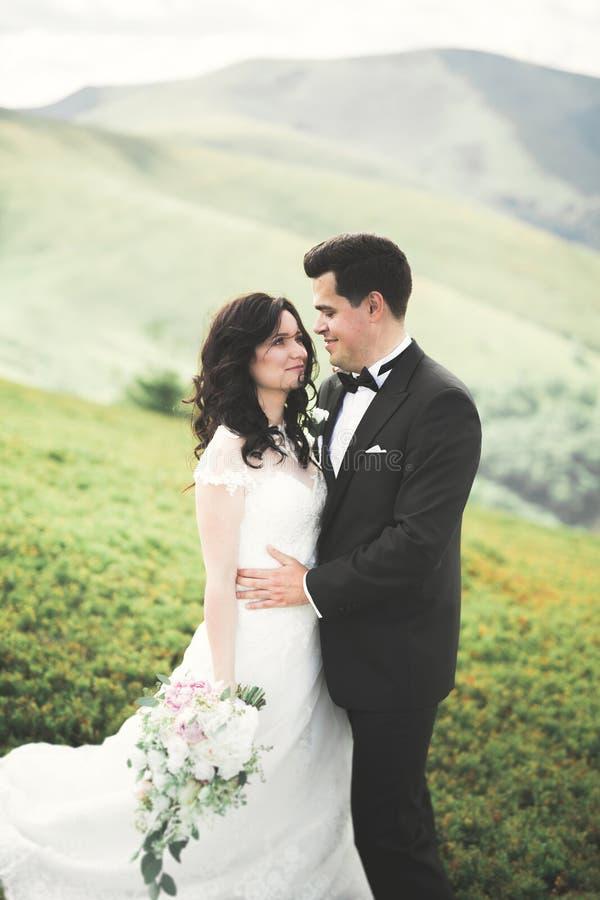 Os jovens wed recentemente pares, beijo dos noivos, abraçando na vista perfeita das montanhas, céu azul imagem de stock royalty free