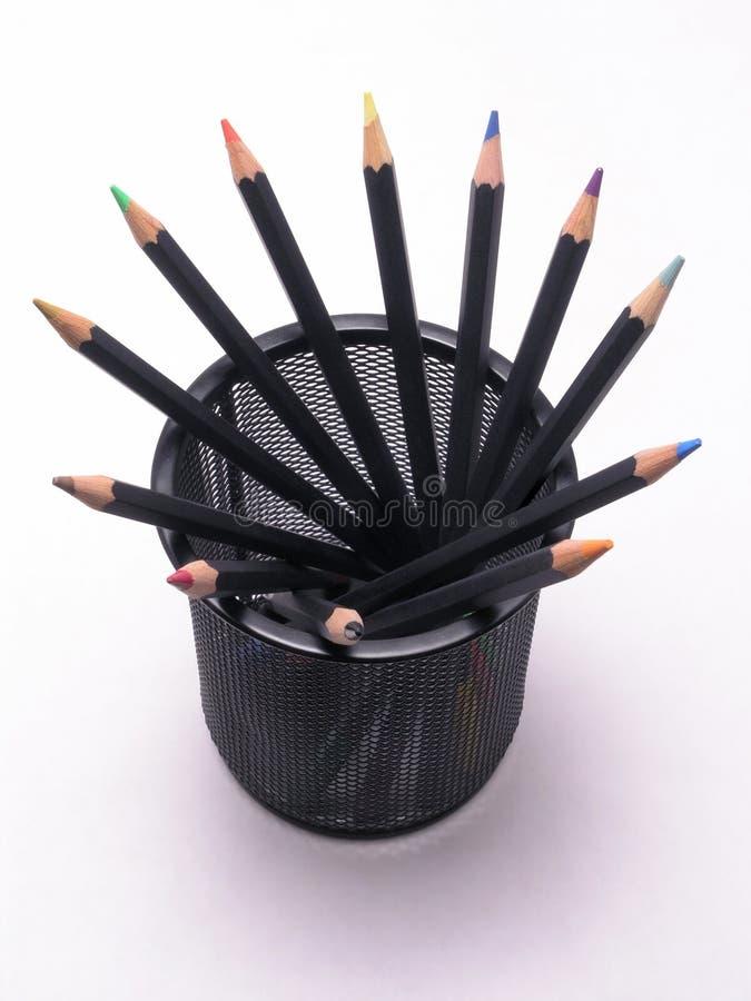 Os lápis coloridos podem dentro 1 imagem de stock royalty free