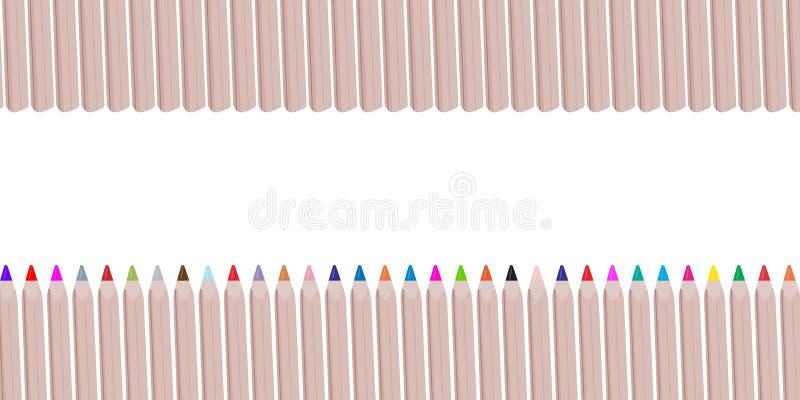 Os lápis ou os pastéis de madeira coloridos gostam de uma série de colo do arco-íris ilustração do vetor