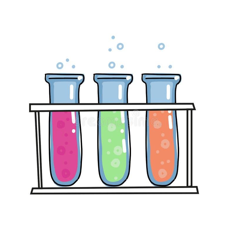 Os líquidos coloridos em uns tubos de ensaio da árvore na cremalheira esboçaram o ícone do esboço isolado no fundo branco Bulbo d ilustração royalty free