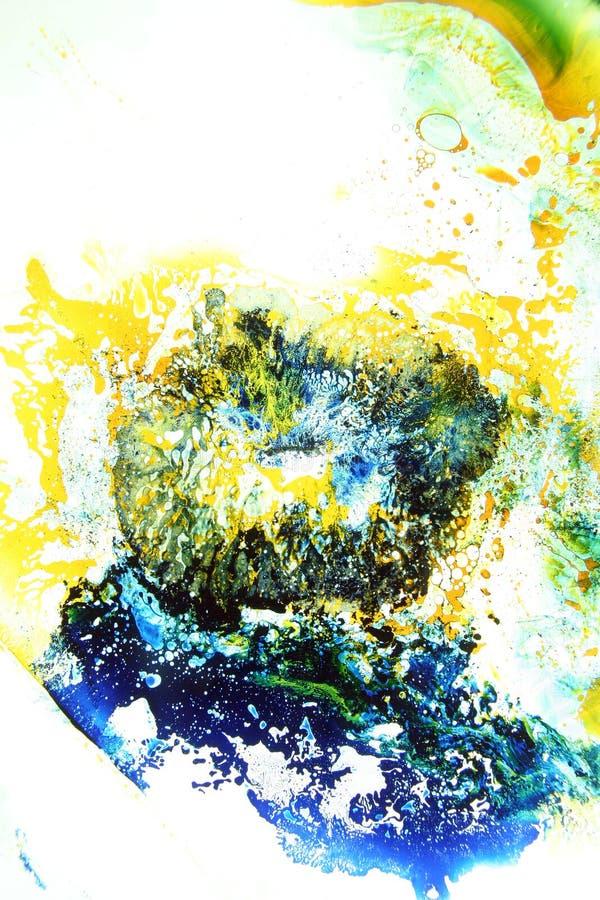 Os líquidos coloridos misturaram junto a uma pintura abstrata foto de stock royalty free