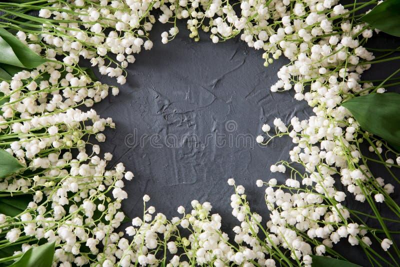 Os lírios da mola branca pequena bonita do vale florescem fotografia de stock royalty free