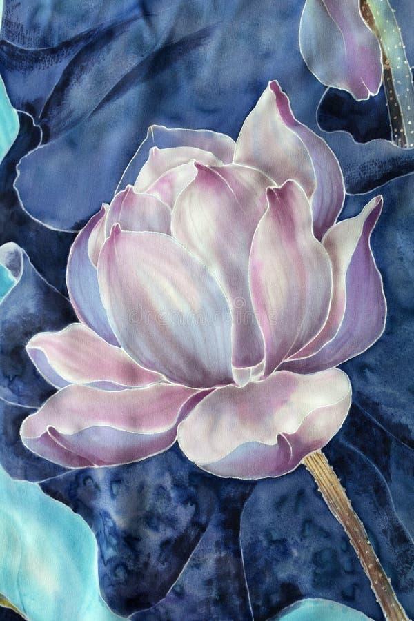 Os lótus batik Composição decorativa das flores, folhas, botões Use materiais impressos, sinais, artigos, Web site, mapas, cartaz ilustração do vetor