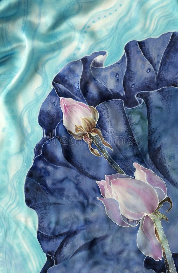 Os lótus batik Composição decorativa das flores, folhas, botões Use materiais impressos, sinais, artigos, Web site, mapas, cartaz ilustração royalty free