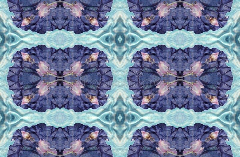 Os lótus batik Composição decorativa das flores, folhas, botões Use materiais impressos, sinais, artigos, Web site, mapas, cartaz ilustração stock