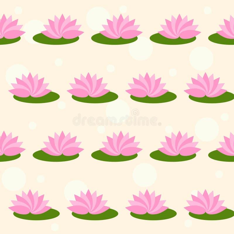 Os lótus cor-de-rosa dos desenhos animados no delicado coloriram o fundo sem emenda do teste padrão da tampa ilustração stock
