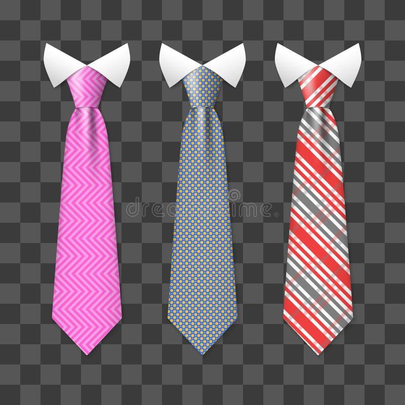 Os laços realísticos coloridos do pescoço ajustaram-se no fundo transparente ilustração do vetor