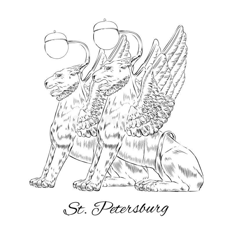 Os leões voados mostram em silhueta o marco de St Petersburg das luzes de rua, Rússia, esboço tirado mão do vetor isolada no bran ilustração stock
