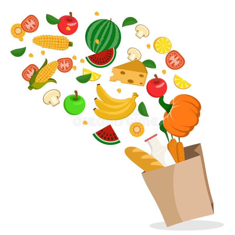 Os legumes frescos, os frutos e os alimentos saudáveis estão voando no pacote em um branco ilustração do vetor