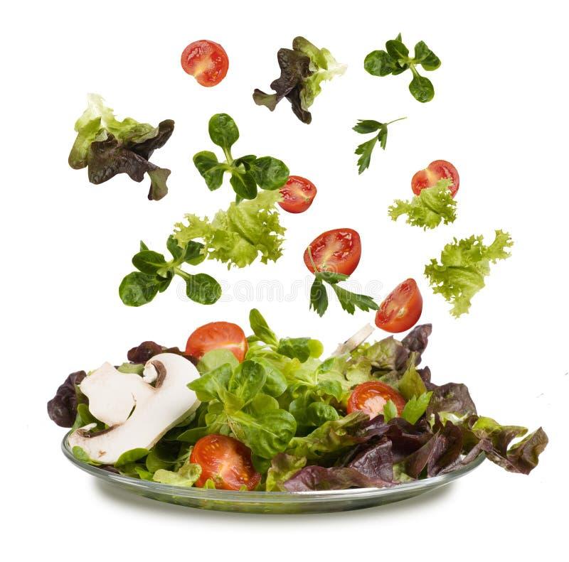 Os legumes frescos que caem no tho rolam fotos de stock royalty free