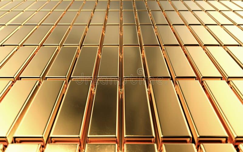 Os lingotes empilhados em fileiras puras, barras do ouro de ouro, 3d rendem ilustração royalty free