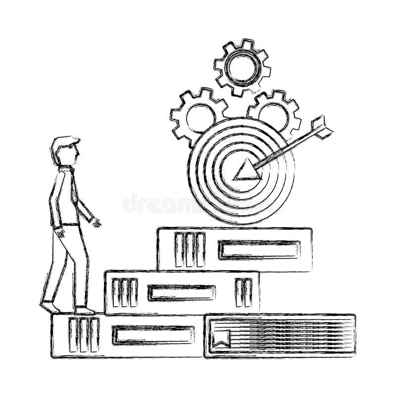 Os livros das escaladas do homem de negócios pisam alvo no sucesso superior das engrenagens ilustração do vetor