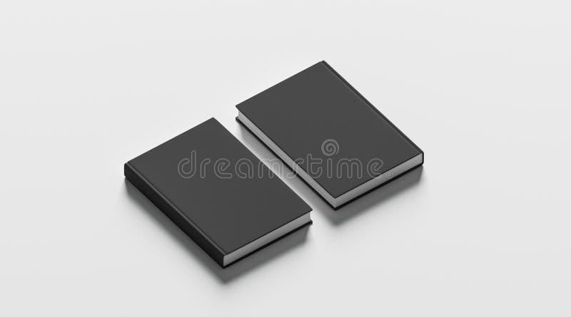 Os livros de capa dura pretos vazios zombam acima do grupo, da parte dianteira e da parte traseira fotos de stock royalty free
