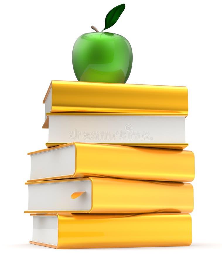 Os livros de texto amarelos dourados do livro empilham a literatura que estuda a maçã ilustração stock
